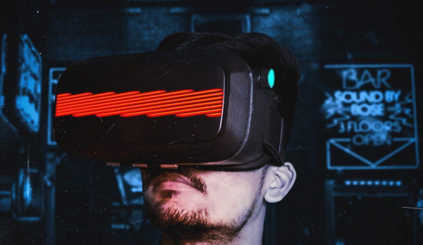 man waring VR headset